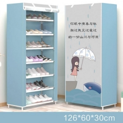 Simple modern minimalist shoes cabinets 7 layers of canvas shoes economic shoes cabinet Light blue
