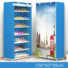 Simple modern minimalist shoes cabinets 7 layers of canvas shoes economic shoes cabinet blue