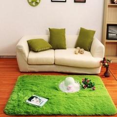 60*160Shaggy Fluffy Rugs Anti-Skid Area Rug Dining Room Carpet Bedroom Floor Mat green 60*160