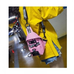 Girl bag 2019 new fashion trend shoulder Messenger bag Pink as picture