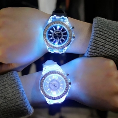 Fashion trend for men and women quartz  Illuminated watch Luminous watch black as picture