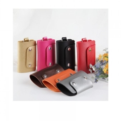 Leather Key Case Wallets Unisex Mens Keychain Key Holder Ring with 6 Hooks Snap Closure Rose red one size