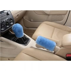 Car hand brake cover Plush Auto Car Handbrake Cover Sleeve Gear Stick Shift Knob Cover Set Pink one size