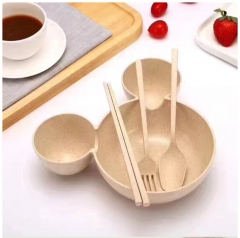 Wheat straw Grid design Separate Bowl Baby Plate Dishes Tableware Tray Cartoon Creative Beige one size