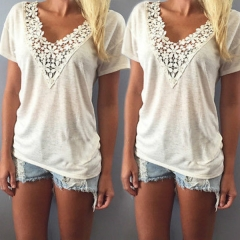Fashion Women Summer Top Short Sleeve T Shirt Casual Top Tees Shirt Lace V Neck T-Shirts white m polyester