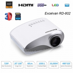 Mini Projector Home Theater LCD Projector With HDMI/USB/SD/VGA/AV/Audio Out Input white normal