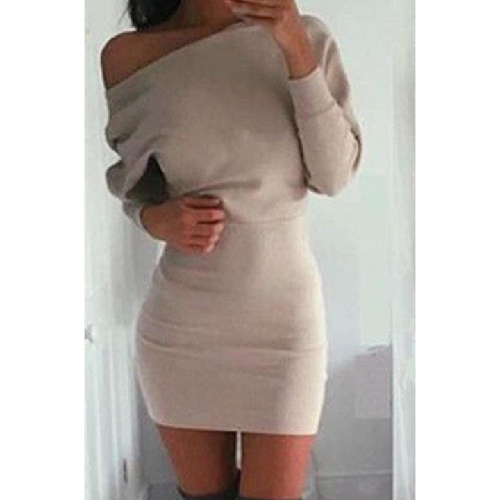 c22173c1c8c7 Long Sleeve Bodycon short mini dress Casual sexy off shoulder solid slim  pencil mini dress xl