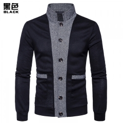 2017 New Pierced Men's Classic Cuff Placket Hit Color Cardigan Knitwear black black size XXL 80 to 88KG