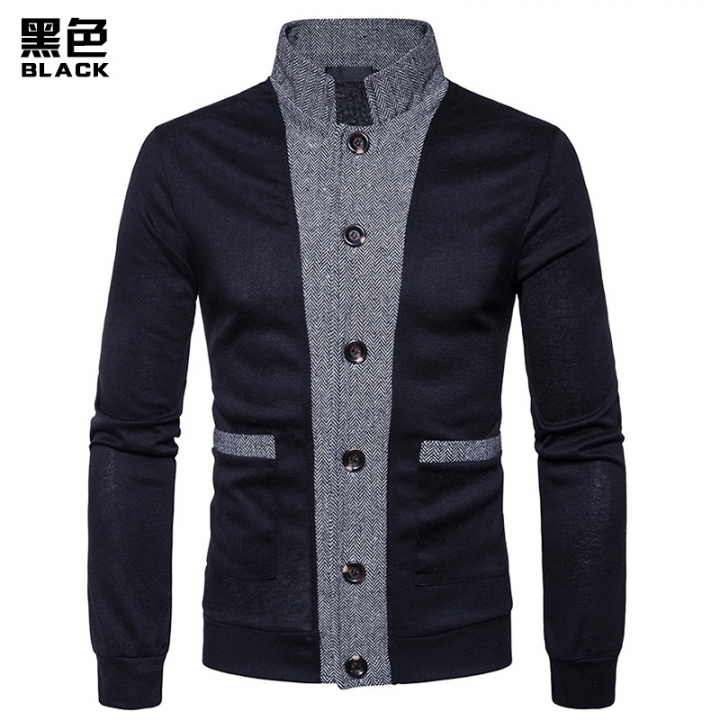 2017 New Pierced Men's Classic Cuff Placket Hit Color Cardigan Knitwear black black size L 65 to 72KG