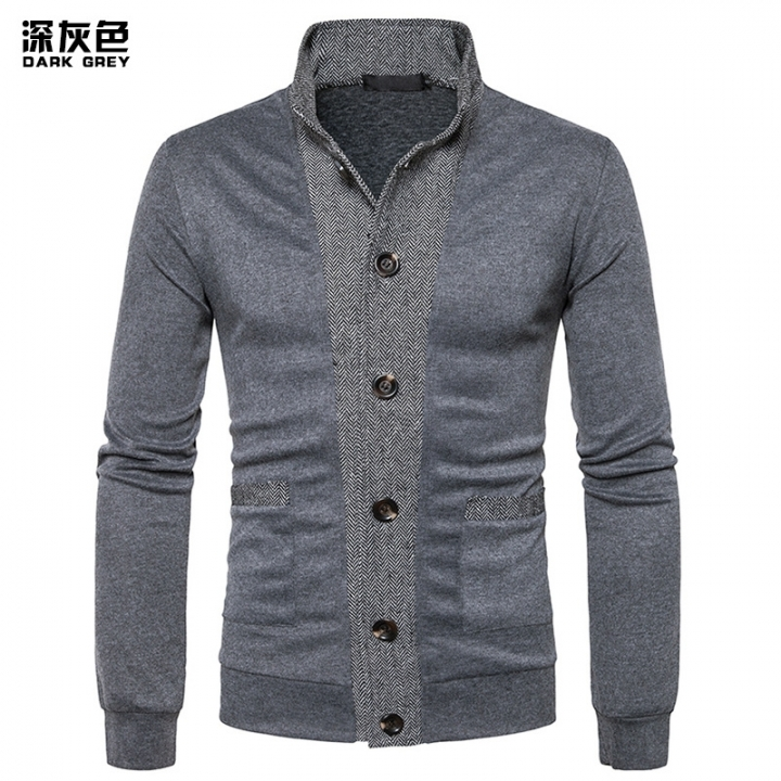 2017 New Pierced Men's Classic Cuff Placket Hit Color Cardigan Knitwear black dark gray, size XL 72 to 80KG