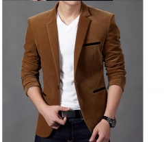 New Fashion Mens Autunm Winter Casual Slim Fit Blazers and Jackets Male Business Suit blazer khaki L