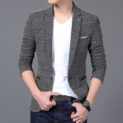 Men'S Fashion Brand Solid Linen Personality Pocket Male Single-Breasted Single Button Terno gray gray m