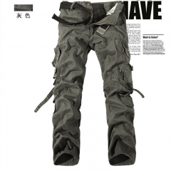 New Fashion Pocket Design Military Style 100% Cotton Overalls Trousers khaki 28 Gray EUR28