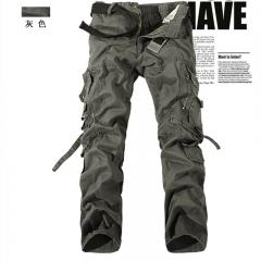 New Fashion Pocket Design Military Style 100% Cotton Overalls Trousers khaki 28 Gray EUR28