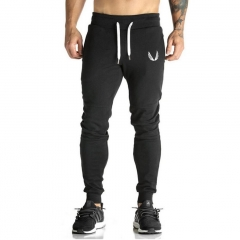 2017 cotton sports pants, elastic cotton, men's fitness pants, tight pants, jogging pants. black L