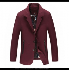 Jacket, two grains, single breasted 2017, youth, fashion, autumn, long sleeves and relaxed leisure. wine red l