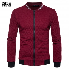 Men's Hoodie 2018 Male Brand Casual Zipper Jacket Stand-Neck White 3D Plaid Tracksuit wine red s