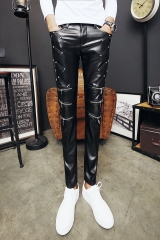 Casual pants, youth fashion, fashion city, wild fashion, comfortable leather pants. black eur28