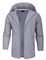 Men's casual hooded men's casual hip-hop style long cardigan pure color sweater Europe Code light grey m