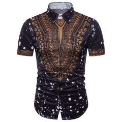 Printed 2018 European big yards men's short sleeve shirt black m polyester fiber (polyester)
