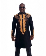 African printed long-sleeve shirt for men large black, m
