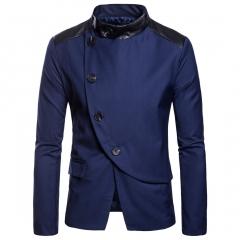 2018 autumn new men's suit, Euro code suit suit, big code leisure XF003 navy blue m