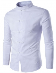 Chinese Style Men's collar, linen, shirt, fashion, youth, long sleeved, casual shirt. white m