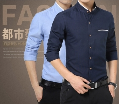 Men's Business Long Sleeve Shirts Male Solid Slim Fit Casual Mens Dress Shirts Plus M-5XL  blue M Light blue m