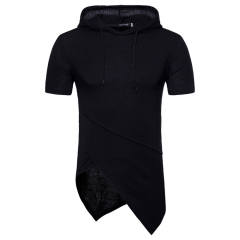New men's casual hooded casual shirt with short sleeves and T-shirt black m polyester,cotton