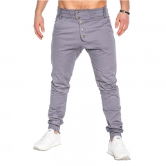 Men's fashion buttons, trousers, trousers, trousers, trousers, Haren trousers gray m