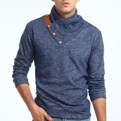 New men's fashion collar, knitted sweater, body repair jacket navy blue m