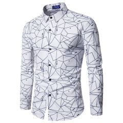 New European style casual men's geometric printed long sleeved shirt white m
