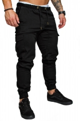 Pocketed trousers, trousers, men's casual pants and trousers black m