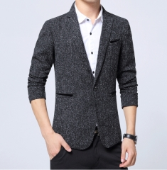 2018 Spring Autumn Fashion Trend Men Wool Suit Jacket / Male Business Casual Blazers Coat black m