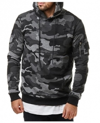 Taotao fashion Autumn new men's classic camouflage casual men's hooded sweater coat gray m