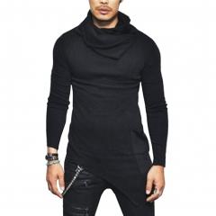 Taotao fashion 2018 style European and American heap collar long sleeved men's coat men's wear black m