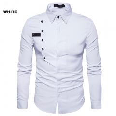Taotao fashion Men's pure colour long sleeved shirt white m