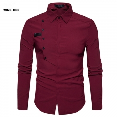 Taotao fashion Men's pure colour long sleeved shirt wine red, xl