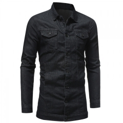 Taotao fashion Men's Jackets & Coat  New Denim Jacket Solid Fashion Hip Pop Casual High Quality dark grey m