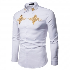 Taotao fashion Gold Embroidery Dress Shirts Men 2018 Fashion white m