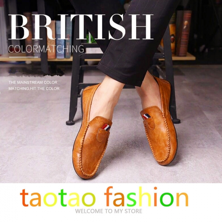 Taotao fashion- Mens Shoes Casual Fashion Peas Shoes Leatherwear light brown 42