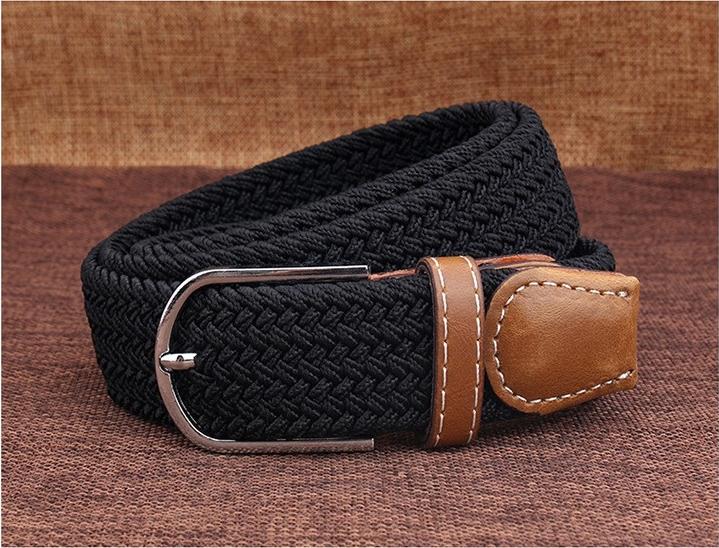 Taotao Fashion-Men Belts Outdoor Leisure Woven CFanvas Trousers Youth Trend black 110cm