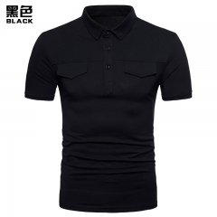Taotao Fashion-Men's Lapel Fashion Pure Color Short Sleeved POLO Shirt black m cotton