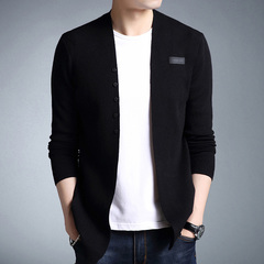 Taotao fashion-Middle- Long length Mens Solid Cardigan Trench Male Casual pure color sweater black m