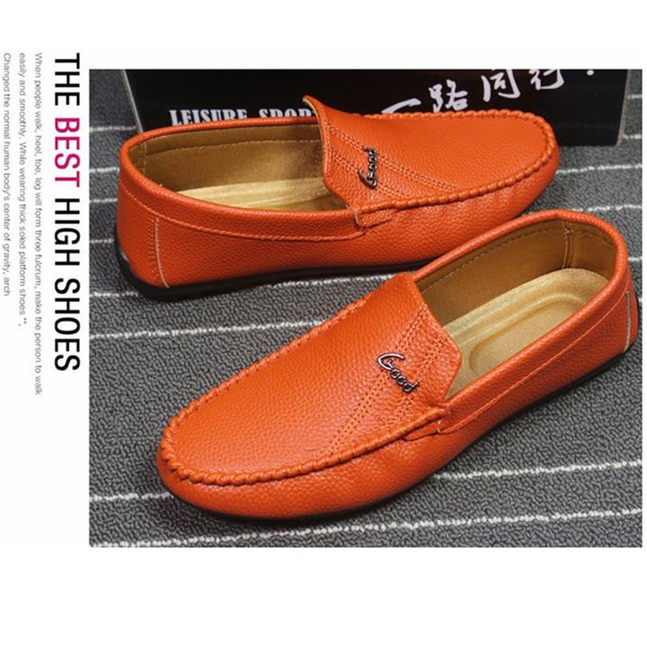 Taotao fashion-Men Flats Light Breathable Shoes Shallow Casual Shoes Soybean shoes orange 42