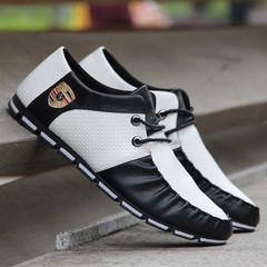 Taotao fashion-Men's Bean Shoes Air-permeable Shoes Men's Shoes Casual Shoes Driving Shoes black and white 42