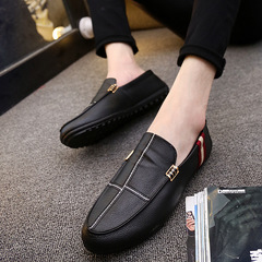 Men shoes Taotao fashion-Men's Leisure Litchi Peel Driving Shallow-mouthed Single Shoe black 42