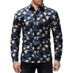 Taotao fashion-Men's Colored Shirt Printing Fashion Turn-lapel Sleeve Shirt blue m