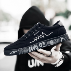 Taotao fashion-Men's Sport Sneakers Men's Breathable Canvas Shoes black 39