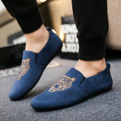 Taotao Fashion Casual Shoes Bean Shoes Tiger Head Embroidered Men's Shoes blue 39
